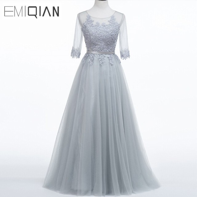 Evening Dress Long New Grey Lace Embroidery Half Sleeve Floor Length ...