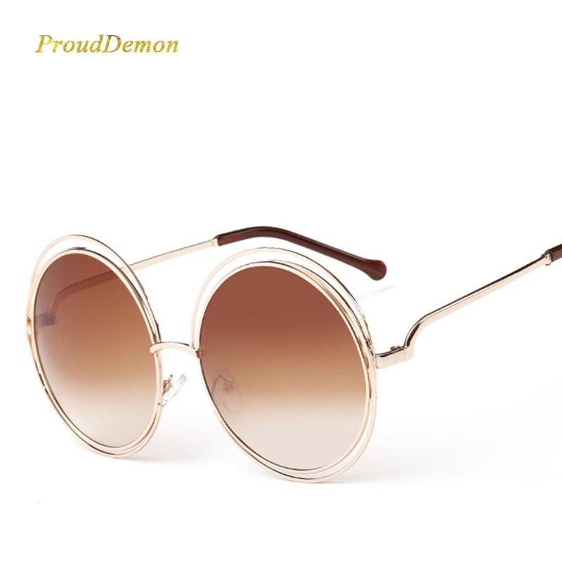 Luksuzni Vintage Okrugli Veliki ogromni objektiv Zrcalo Brand Dizajner Ružičasta sunčane naočale Lady Cool Retro UV400 Žene Sunčane naočale unisex
