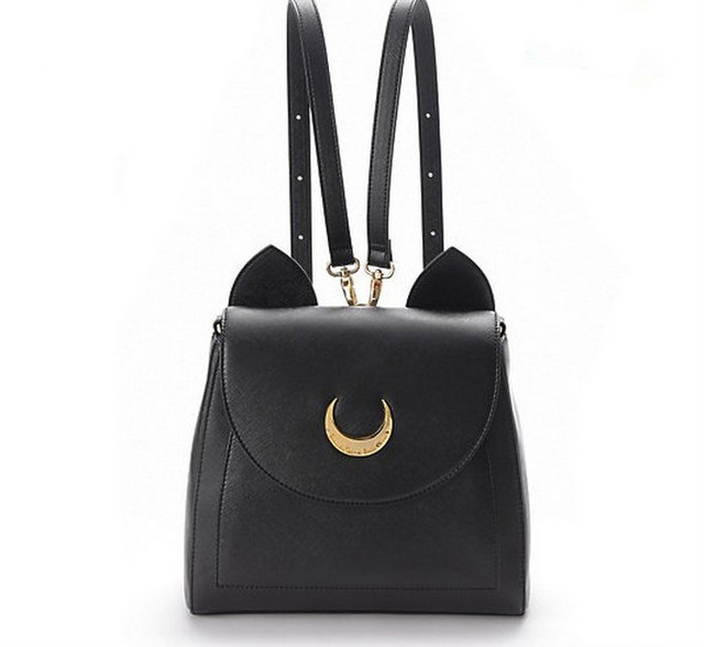 2016 Cute Large Sailor Moon Samantha Vega Luna Black White Cat Luna Moon Women Bag Leather School Bag metal moon