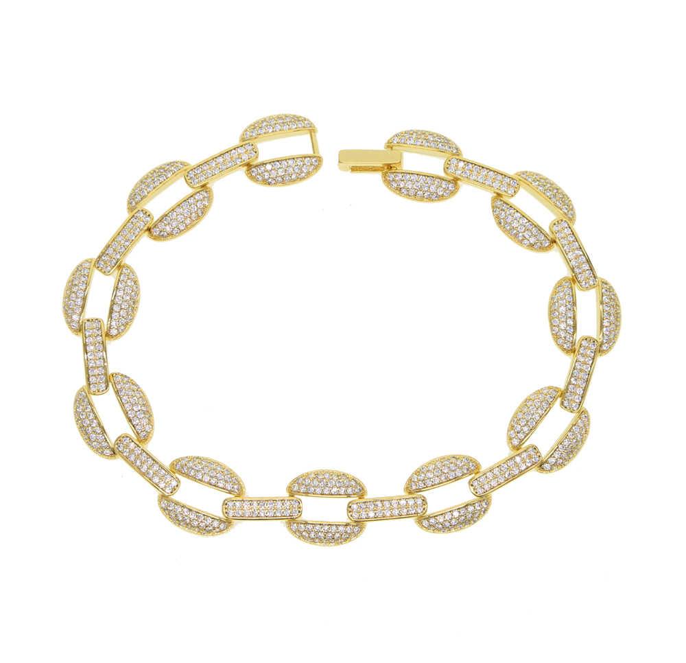 2019 Hip hop pave AAA CZ kubański link łańcuch bransoletka złoty kolor luksusowe charm bransoletki dla kobiet moda męska marka biżuteria