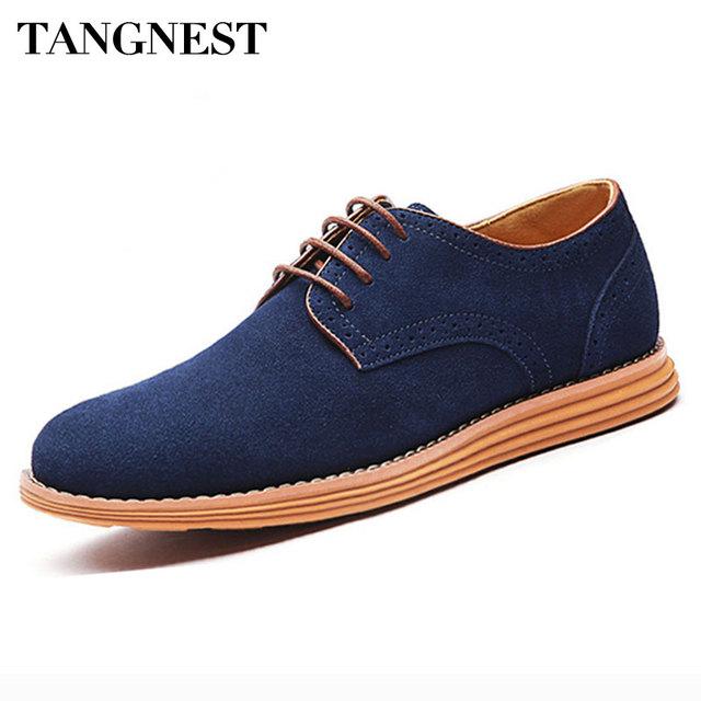 Tangnest Hombres Oxfords Planos Ocasionales Con Cordones de Zapatos Planos Masculinos Otoño Zapatos Vintage PU Cuero de Los Hombres Zapatos de Vestir Más El Tamaño 38-47 XMR879