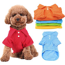 ebe259dcb9e4 Puppy Dog Cat Summer Solid Color Buttoned Polo Shirt Pet Clothes Summer Pets  Dogs Clothing Short