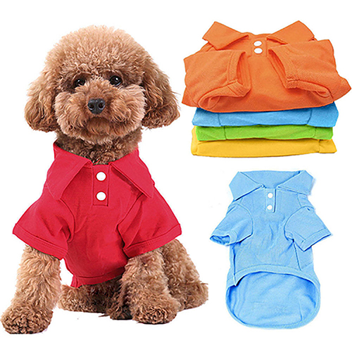 1pc Puppy Dog Cat Summer Solid Color Buttoned Shirt Pet Clothes Costume T-Shirt