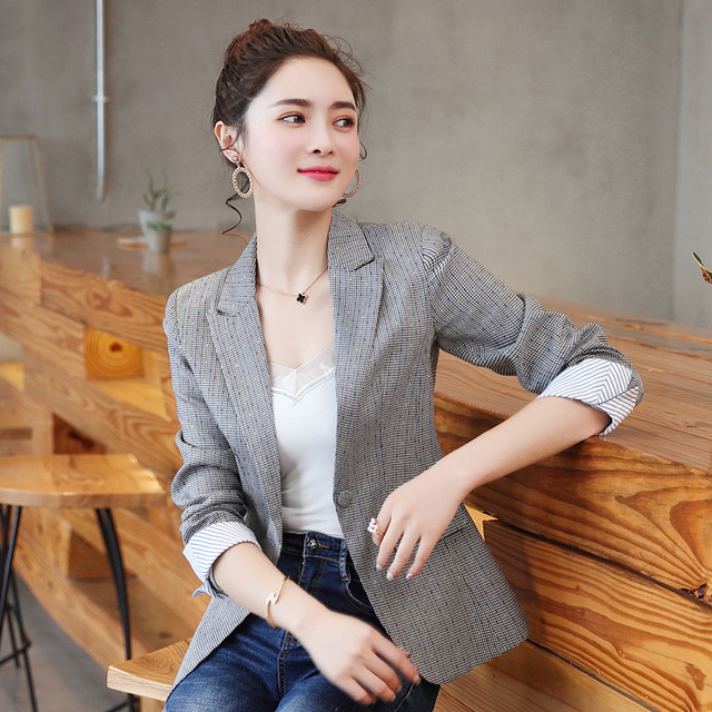 6b8514c02e2 2018 Korean Spring Autumn New Chic Office Lady Casual Houndstooth Plaid  Blazer Jacket Gray 3XL 4XL