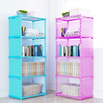 Простая Многоуровневая книжная полка, креативная полка для хранения книг, растений, разное, DIY комбинированный шкаф, ткань, детский книжный ...