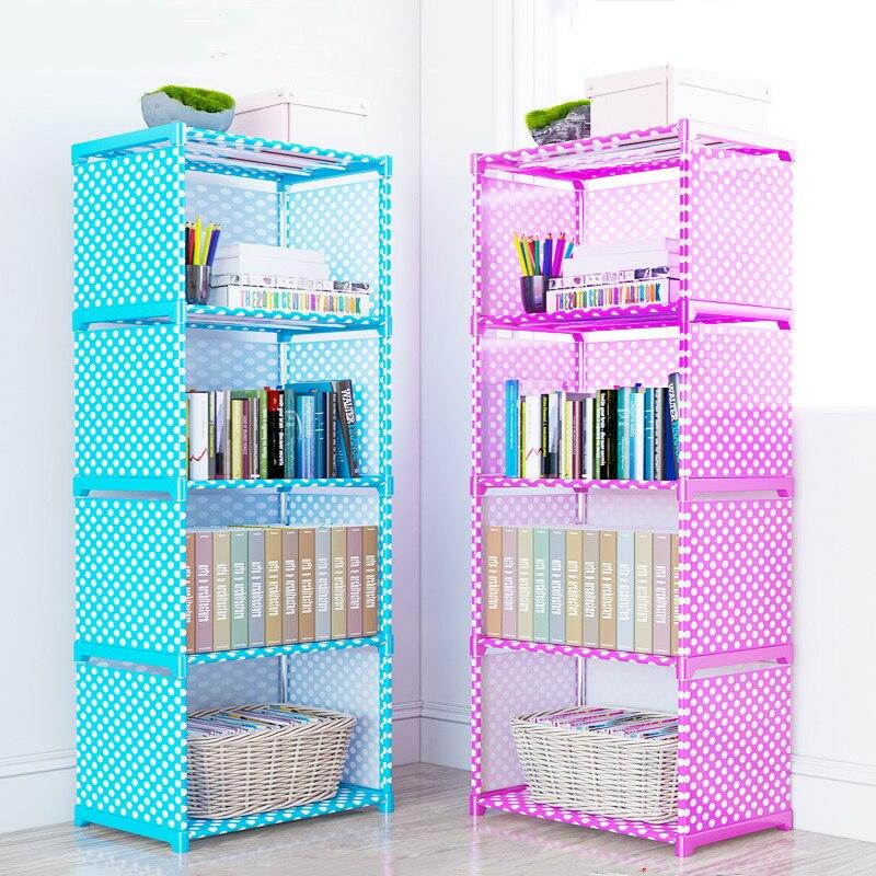 Simple Multi-Tier Bookshelf Creative Storage Shelf for Books Plants Sundries DIY Combination Cabinet Fabric Children Bookcase