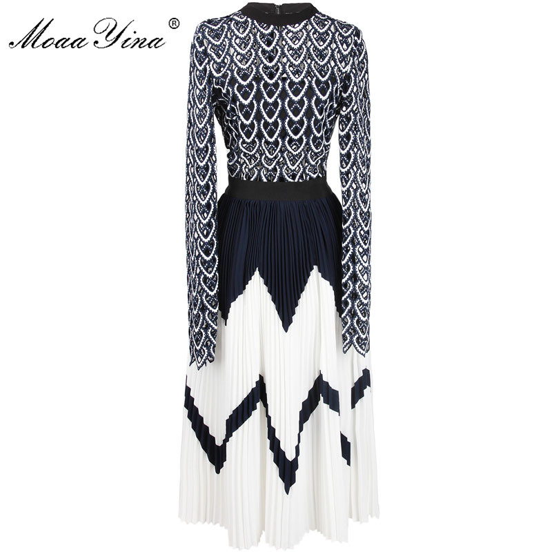 MoaaYina 2018 Fashion Designer Runway Midi Dress Summer Women Long sleeve Heart Hollow Out Patchwork Pleated