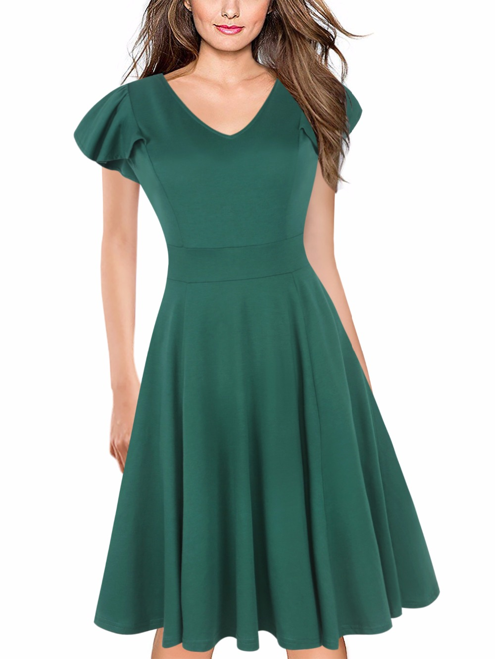 on wholesale check out fashion style Ruffle Sleeve Plain Green Dress Women Vintage Party Wear To ...