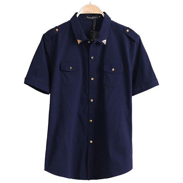P365 Hot 2016 New Arrival Summer Men's Sold Color Short Sleeve Casual Shirt Slim Shirts Men Clothes M-XXXL