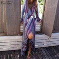Zanzea mulheres 2017 boho vintage imprimir long beach maxi dress Ladies Casual Solto Manga Comprida V Neck Ruffles Dividir Vestidos vestidos