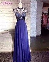 Melice Zarte Perlen Backless A-linie Royal Blue Abendkleider 2018 Vintage High Neck Lange Formale Kleid Robe De Soiree