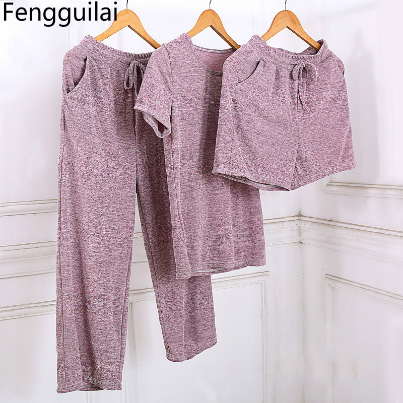 3 Pieces Set For Women Sexy Vogue Summer Soft Tracksuit Sets Casual T Shirt & Shorts Long Pants Suit Outfit Overalls Playsuits