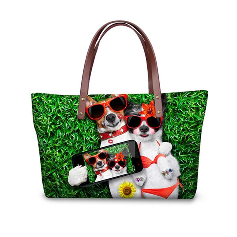 Luxury Handbags Women Bags Designer Cute Animal Cat Dog Print Messenger Bag for Ladies Casual Big Capacity Shop Bags