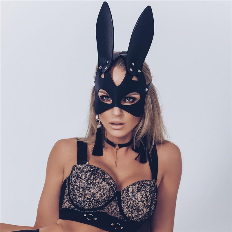 <font><b>Sexy</b></font> Cosplay Rabbit Bunny Masks Women <font><b>Girl</b></font> Black Leather Adjustable Adult Play Special <font><b>Cat</b></font> Ears Halloween Party Masks Costume image