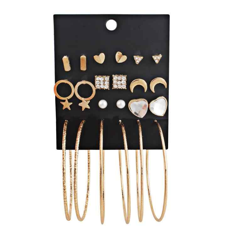 2018 NEW Fashion Stud Earring Set Mix for Women Gold Color Geometric Crystal Heart Triangle Star Moon Big Round Circle Brincos