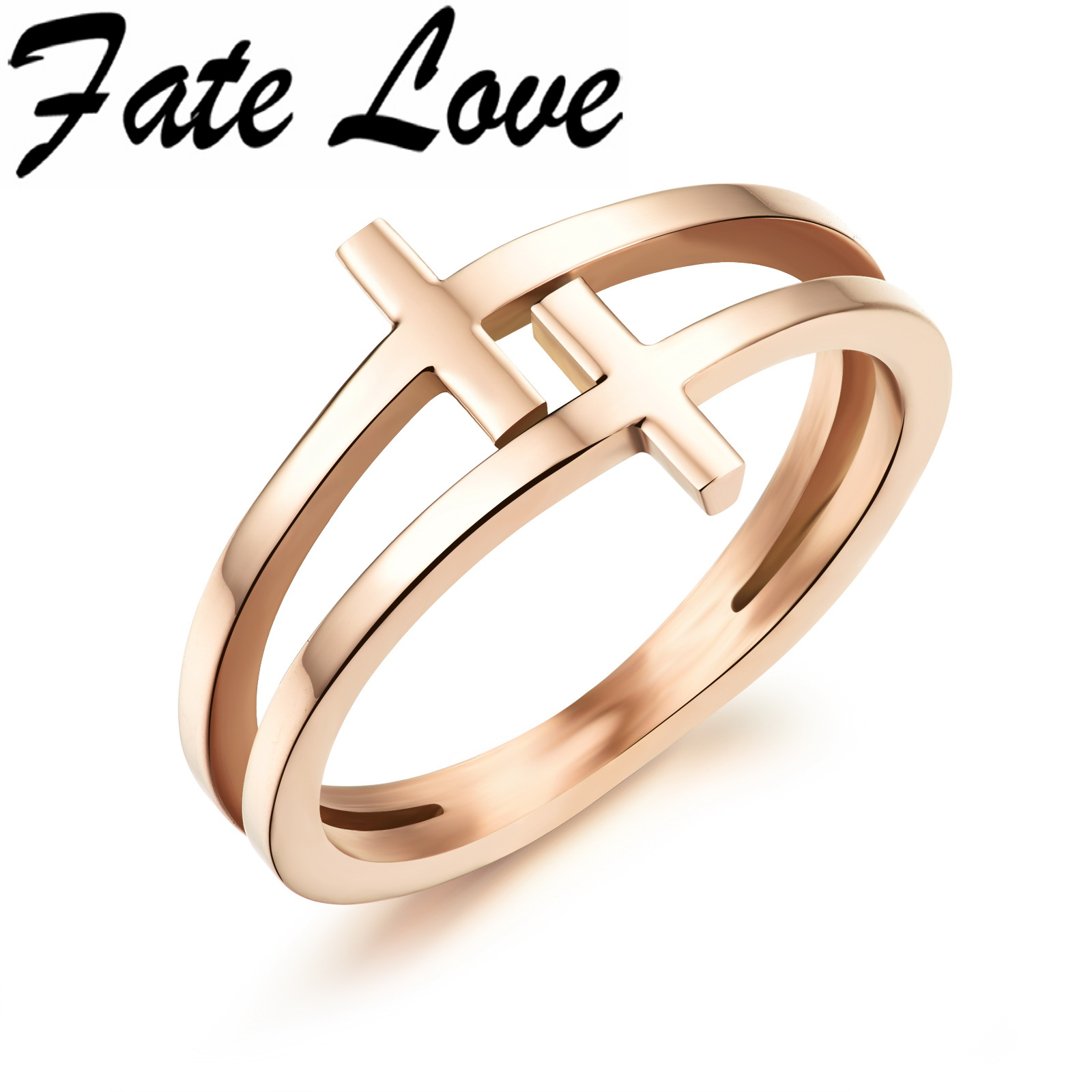 Fate Love Fashion Special Double Layers Cross Rose Gold Color Finger Rings For Women Girls Cute Rings For Lovely Lady FL491