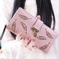 Women wallet PU leather hollow out leaf short long wallets hasp zipper coin purse female clutch women card holders fashion HB006