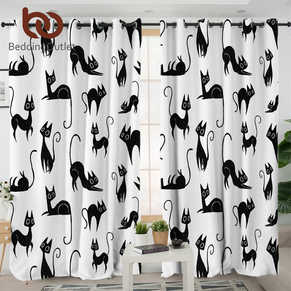 BeddingOutlet Cartoon Living Room Curtain For Kids Animal Curtain For Bedroom Cute Cat Print Black White Window Treatment Drapes
