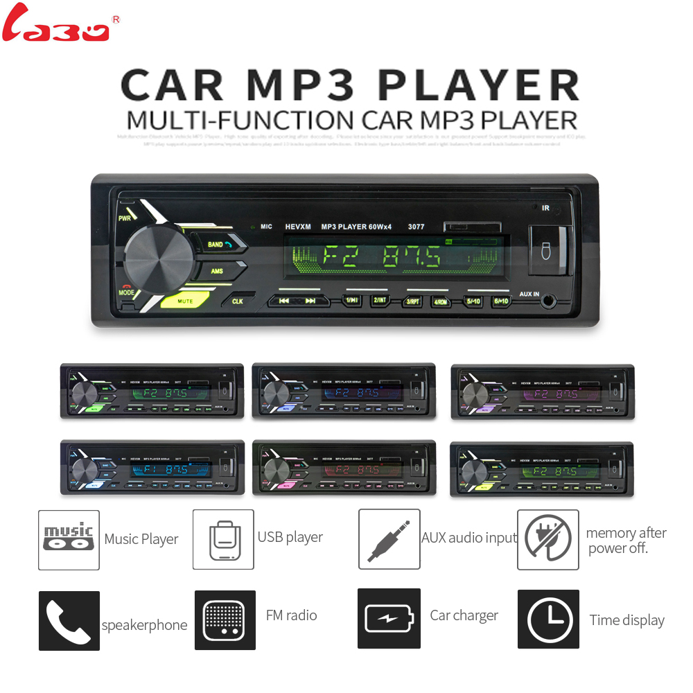 2018 Sale New FM Car Radio 12V Bluetooth V3.0 Panel Auto Audio Stereo SD MP3 Player AUX USB Hands free Call