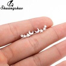 Shuangshuo «Луна», «Звезды» уха альпинист крошечная звезда луна серьги-гвоздики повседневной подросток день матери звездного неба на день рождения, подарок, ювелирное изделие