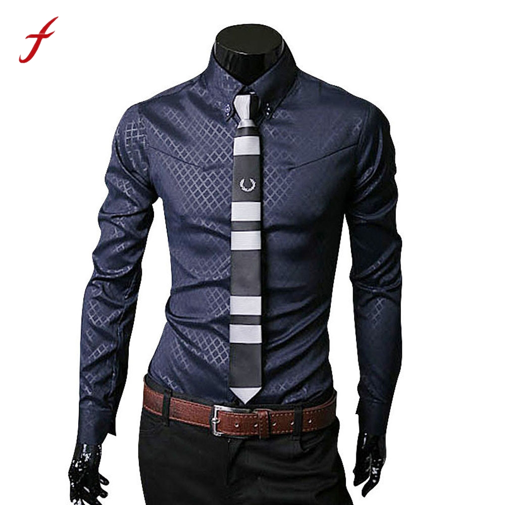 FEITONG Men Shirt Fashion Luxury Business Blouse Stylish Slim Fit Long Sleeve Casual Shirts 5 Solid Colors Hight Quality Blusa