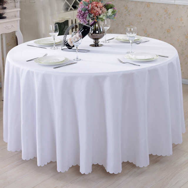 Charmant 10pcs/Pack White/Black 120 Inch Round Polyester Tablecloths Table Cover For  Wedding Party