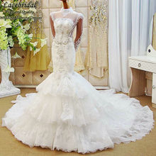 Dubai Luxury Mermaid Lace Tiered Heavy Beaded Crystal Pearls Wedding Dresses 2016 Long Sleeve Bridal Gown vestido de novia XW103