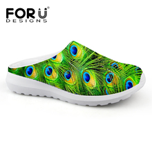 FORUDESIGNS Fashion Summer Style Women Slipper Peacock Print Casual Home Indoor Shoes Woman Shoes Slip On Flats Slippers Sandals