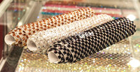 24*40cm/piece 8mm Width Clear Glass Rhinestones Trim Mesh Strass Chain Crystal Banding Applique For Wedding Dress Decoration