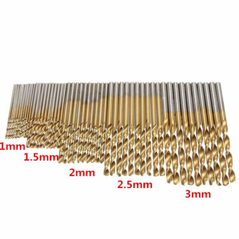 50 Pieces/set Twist Drill Bits Titanium Coated HSS High Speed Steel Drill Bit Set Tools