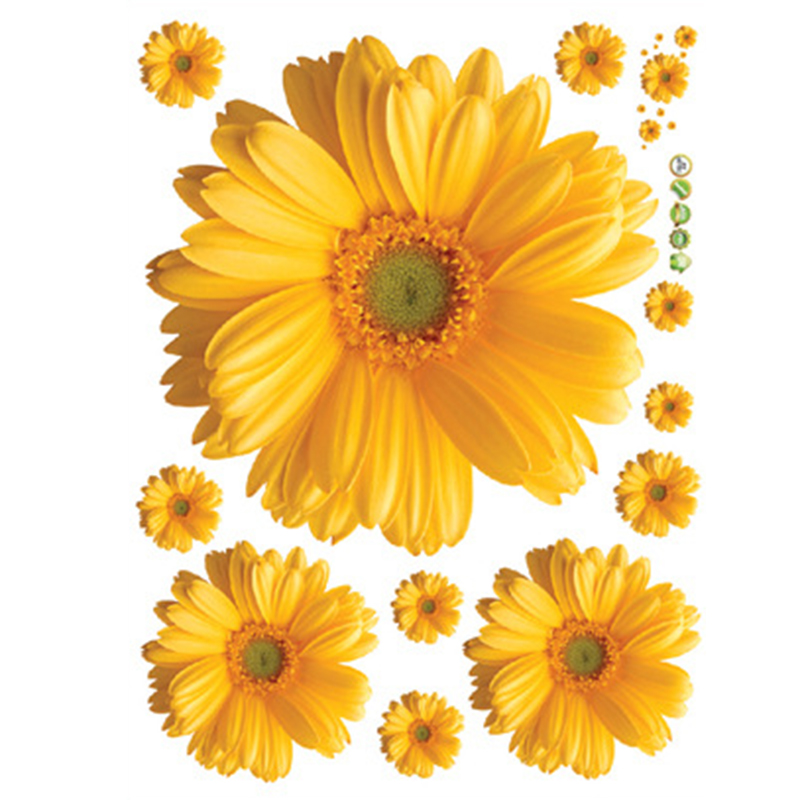 Us 2 25 21 Off Urijk Free Shipping Yellow Flowers Decorative Combination Diy Wall Sticker Decor Chrysanthemum Daisy Home Bedroom Wall Decal In Wall