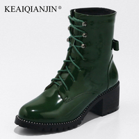 KEAIQIANJIN Woman Lace Up Martens Boots Plus Size 32 48 Autumn Winter Gothic Shoes Patent Leather