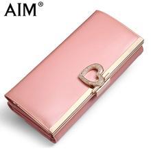 AIM 7 Цвета Большой Емкости Моды Кожаный Бумажник для Женщин бренд Trifold Розовые Сумки Сцепления Длинный Кошелек Женский Телефон Карты держатель