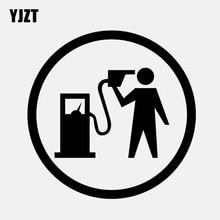 YJZT 12.7 سنتيمتر * 12.7 سنتيمتر سيارة ملصق مضحك ملصق حائط من الفينيل الوقود الغاز الأسود/الفضة C3 0743