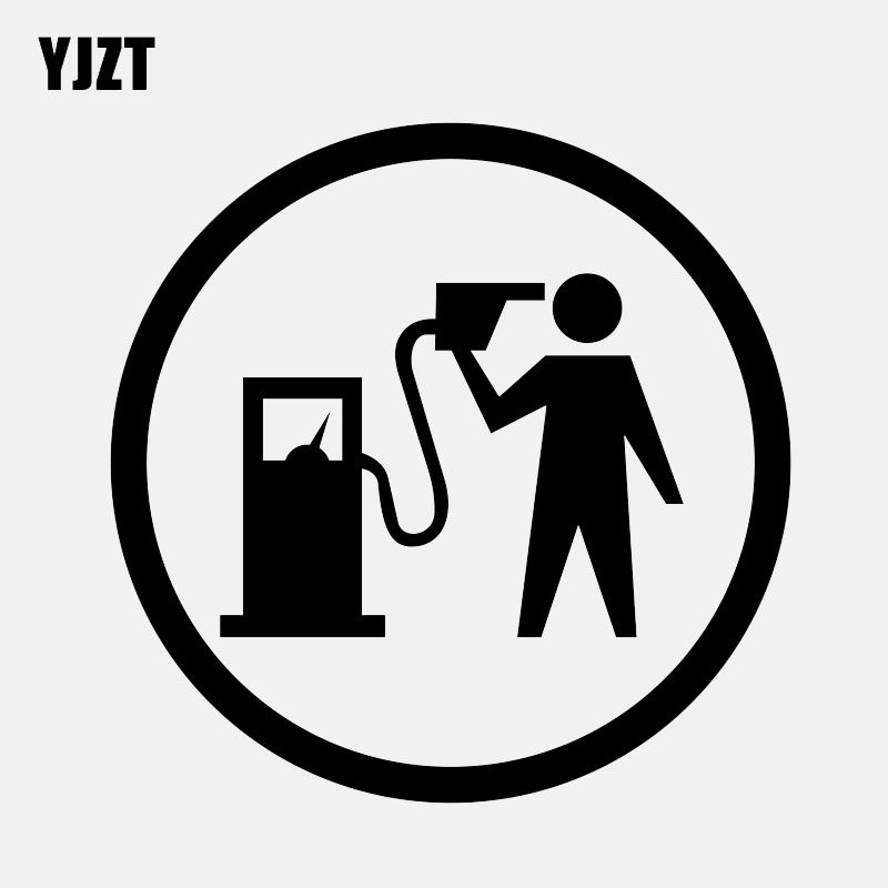 YJZT 12.7CM*12.7CM Car Sticker Funny Vinyl Decal Gas Fuel Black/Silver C3-0743