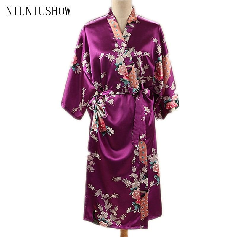 Purple Plus Size S - XXXL Summer Sexy Womens Robe Rayon Nightgown Print Long Sleepwear Kimono Bath Gown Flower Pajamas T006