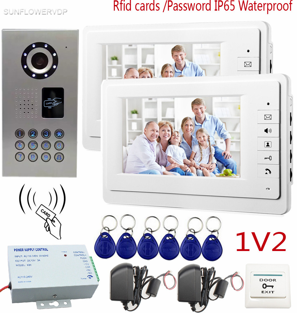 SUNFLOWERVDP Video Door Phone IP65 Waterproof Rfid Card/Keyboard CCD Camera Video Phone Color 7 inch Monitor 1v2 System Unit 125khz rfid card access control video door phone system wired 7 inch color screen video door bell with rfid card reader