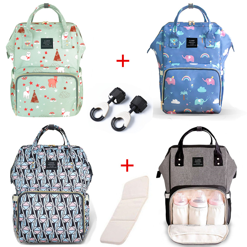 LAND Baby Bag Wetbag for Diaper Bag Baby Care Large Capacity Mom Backpack Maternidade Designer + 2PCS Diaper + 2PCS Hooks