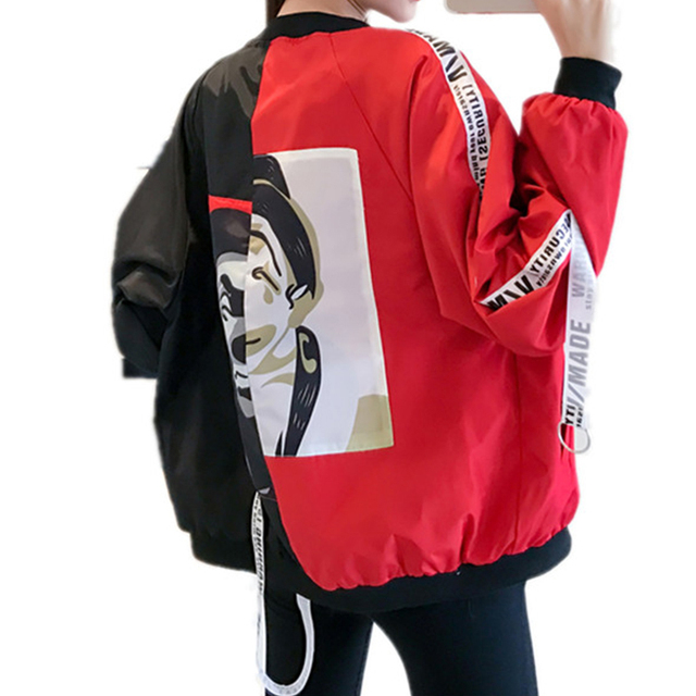 Blouson basique pour femmes, blouson imprimé Clown, coupe-vent Chic, mince, à la mode, manteau de Baseball féminin 4