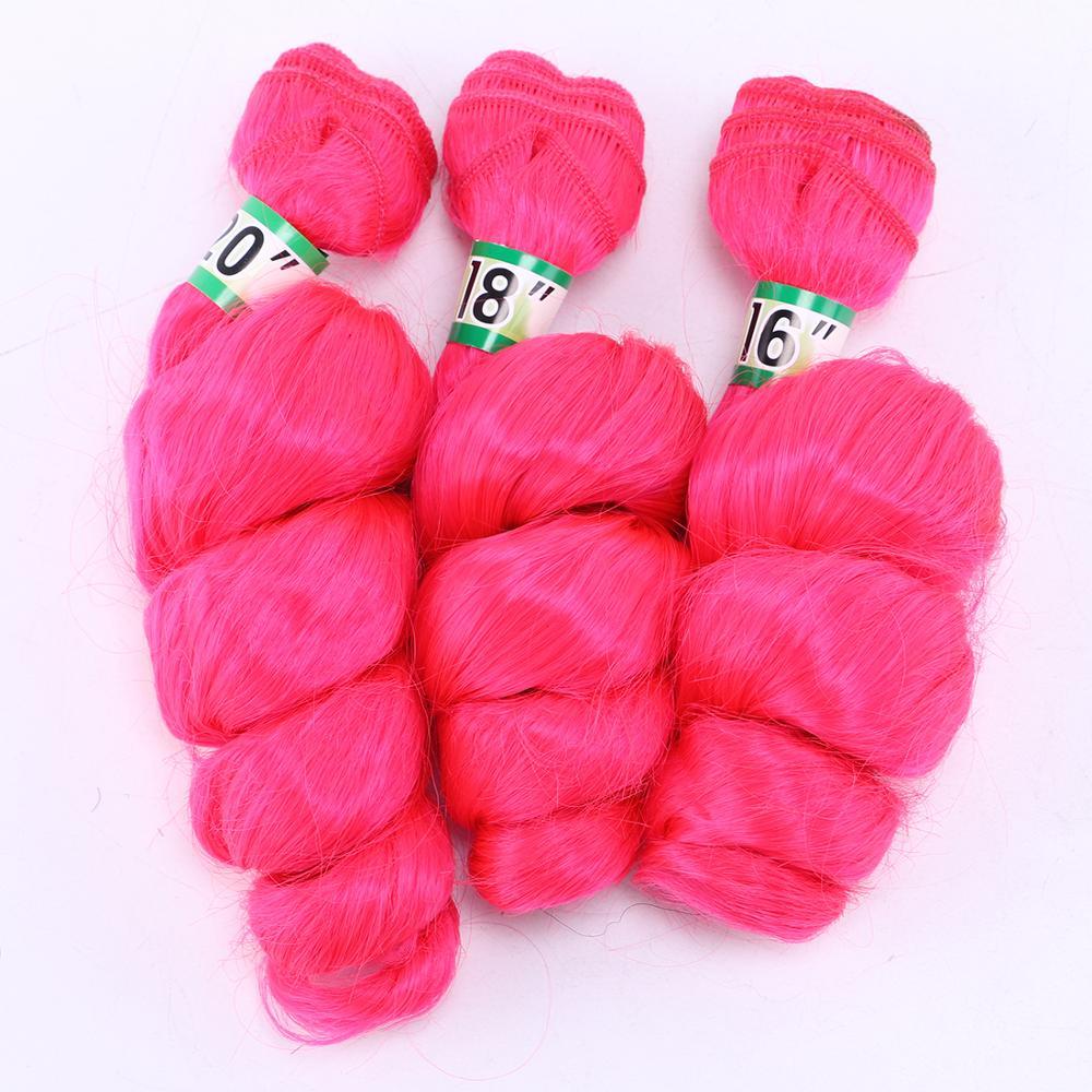 "3 Pcs/lot Loose Wave Hair Weaving Pink Hair Weave 16""-20"" Heat Resistant Synthetic Hair Extensions Bundles 70g/Pcs"