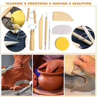 45pcs/Set Wooden Ceramic & Clay Sculpting Pottery Art Tools Kit with Plastic Case MJJ88