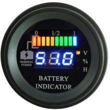 Круглый светодиодный индикатор разрядки батареи, счетчик часов, вилочный погрузчик, EV, 12V 24V 36V 48V 60V до 100V