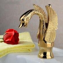 НОВЫЙ Золотой Цвет Латунь Лебедь моделирование Ванной Бассейна Кран Сосуд Раковина смеситель Wgf009