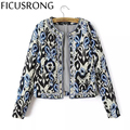 Outerwear & Coats 2016 Autumn Winter Color Print New Women Round Neck Beaded Embroidery Cotton Women's Short Cotton Jacket TD3