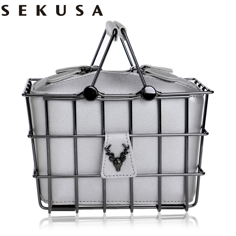 SEKUSA PU Fashion Women Box Evening Bag Hollow Out Animal Lady Handbags With Chain Shoulder Clutch Purse Bag
