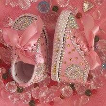 Бесплатная доставка, детская обувь со стразами и кристаллами для маленьких девочек, мягкая обувь ручной работы с бусинами и стразами, красивая обувь с жемчужинами