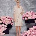 Мать Невесты Платья с Курткой 2017 Продажа Sparkly шампанское Чай Длина Новый Кружева Мать Невесты Платье Формальное Вечернее платья