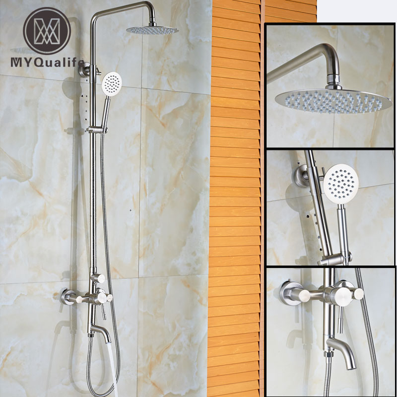 Brushed nickel 10 Rain Shower Set Wall Mounted Bath Shower System 3-functions with Handheld Shower free shipping wall mounted brushed nickle led light showerhead with shower arm 8 10 12 inch