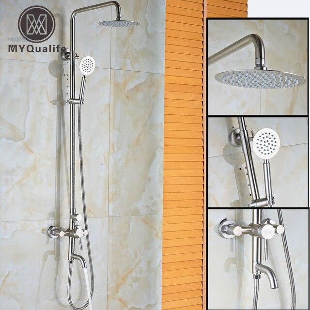 Brushed Nickel 10 Rain Shower Set Wall Mounted Bath Shower System 3