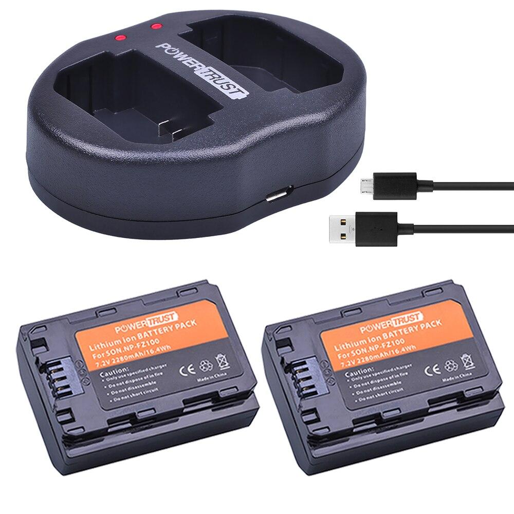 2x 2280mAh NP-FZ100 NPFZ100 NP FZ100 Battery + Dual USB Charger for Sony BC-QZ1 Alpha 9 9R A9R 9S ILCE-9 A7R A7 III ILCE-7M3 3x 2280mah np fz100 npfz100 np fz100 battery for sony a9 a9r 9s bc qz1 alpha 9 ilce 9 a7r ilce 7rm3 a7 iii ilce 7m3 ilce 7m3k